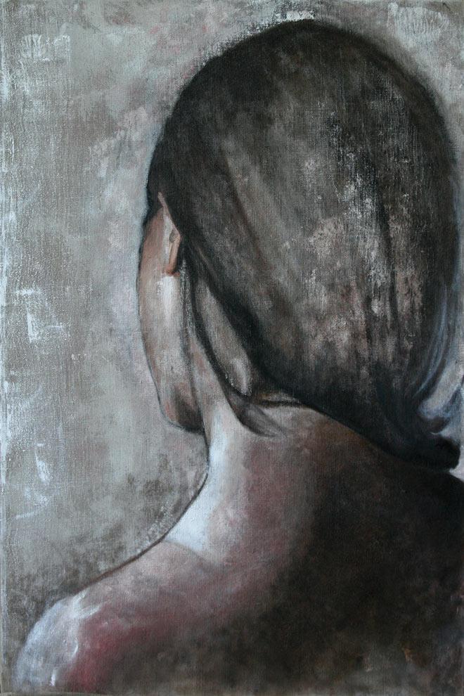 Riflessioni (retro), Olio su tela 60 x 90